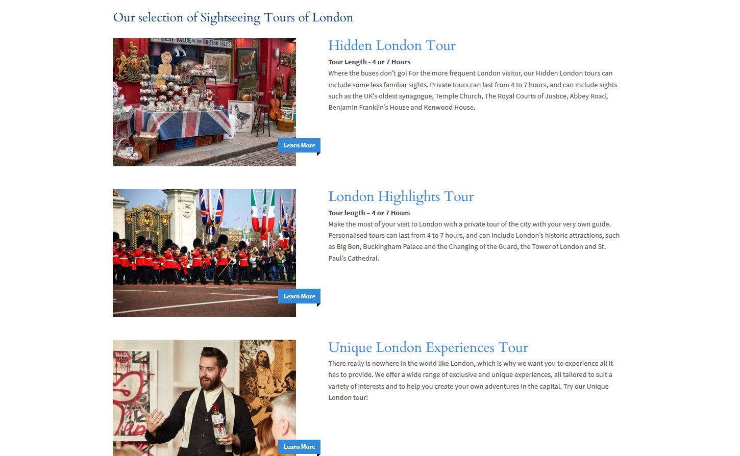 London tours screenshot