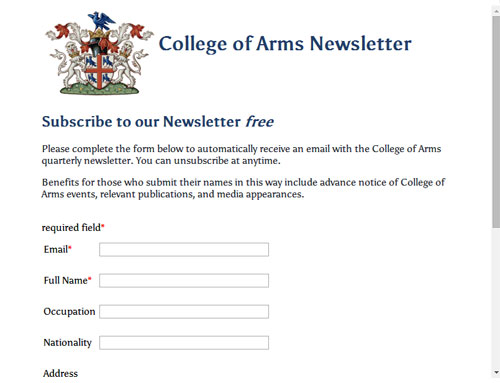 College of Arms newsletter subscribe
