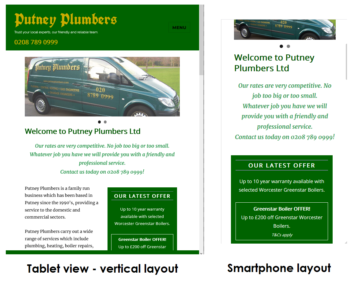 Tablet and smartphone responsive design for PutneyPlumbers.com